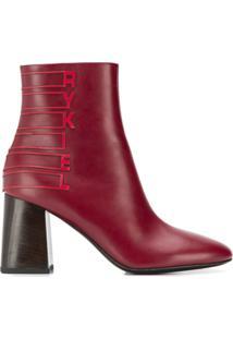 Sonia Rykiel Bota Com Logo - Vermelho