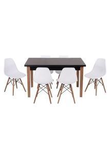 Conjunto Mesa De Jantar Luiza 135Cm Preta Com 6 Cadeiras Eames Eiffel - Branco
