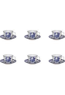 Conjunto 6 Xícaras De Chá C/ Pires Oxford Flamingo Blue Willow Azul/Branco