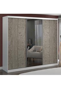 Guarda-Roupa Casal 3 Portas Com 1 Espelho 100% Mdf 774E1 Branco/Demolição - Foscarini
