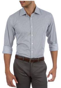 Camisa Social Masculina Upper Cinza Listrada