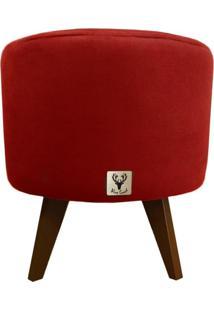 Puff Pé Palito Redondo Alce Couch Suede Liso Vermelho 40Cm