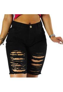 Bermuda Sol Jeans Destroyed Comprida - Feminino-Preto