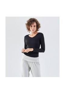 Camiseta Liz Easywear Manga Longa Preto