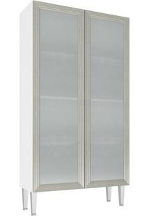 Cristaleira 2 Portas Vidro 80X149 Branco/Nude
