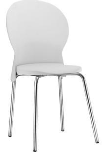 Cadeira Luna Fixa Em Polipropileno Com Pés Cromados - Branca