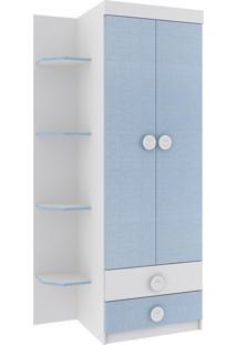 Roupeiro Infantil Rodial Arco-Iris 2 Portas 2 Gavetas Branco Azul