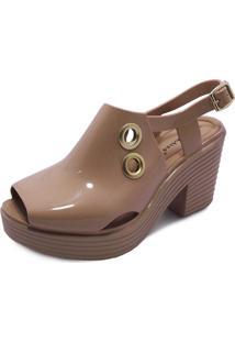 Sandália Boot Sola Alta Miss Miss Caqui