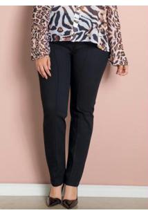 Calça Skinny Preta Com Botões Plus Size