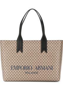 Emporio Armani Logo Print Tote - Marrom