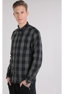 Camisa Masculina Xadrez Com Bolso Manga Longa Chumbo