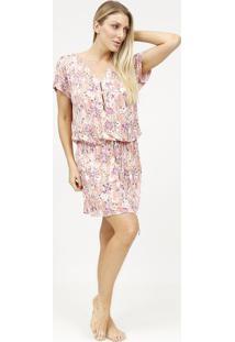 Camisola Floral Com Botãµes & Amarraã§Ã£O- Rosa Claro & Lilfruit De La Passion