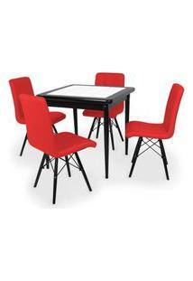 Conjunto Mesa De Jantar Em Madeira Preto Prime Com Azulejo + 4 Cadeiras Gomos - Vermelho