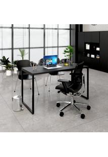 Mesa Para Escritório 1,50X75X60Cm Estilo Industrial Kuadra Me150 Preto Ônix - Compace