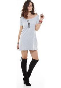 Vestido Manola Manga Curta Moleton Feminino - Feminino-Cinza