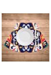 Jogo Americano Para Mesa Redonda Wevans Mandala Colorida Kit Com 4 Pçs