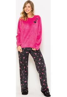 Pijama Any Any Soft Longo Pink Flamingo Rosa