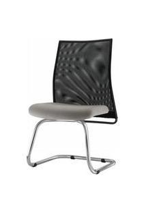 Cadeira Liss Assento Courino Cinza Claro Base Fixa Cromada - 54667 Cinza
