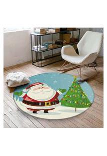 Tapete De Natal Redondo Cute Papai Noel 94Cm