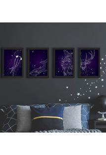 Quadros Espaço Constelações Moldura Preta 22X32Cm Kit 4Un