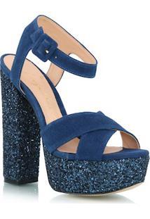 Sandália Meia Pata Em Glitter E Camurça Azul