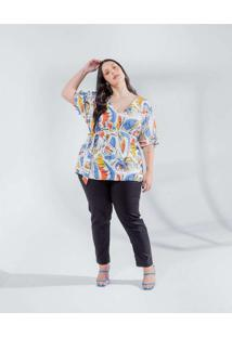 Blusa Almaria Plus Size Miss Taylor Estampada Mang