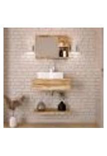 Conjunto Para Banheiro Bancada Com Cuba Aria 41 Retangular, Prateleira E Espelheira City 606 Carvalho