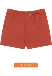 Shorts Plus Size Secret Glam Vermelho