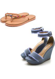 Kit Sandã¡Lia Anabela Salto Alto E Chinela Rasteira Feminino Conforto Jeans - Jeans - Feminino - Dafiti
