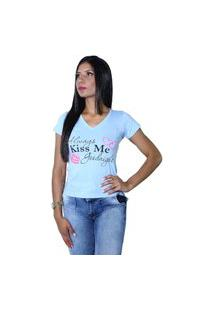 Camiseta Heide Ribeiro Always Kiss Me Goodnight Azul Claro