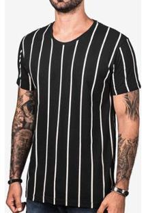 Camiseta Hermoso Compadre Listrada Masculina - Masculino-Preto+Branco