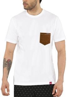 Camiseta Bolso Aplique Couro - Masculino