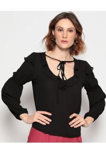 Blusa Lisa Com Babado - Preta - Chocoleitechocoleite