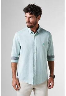 Camisa Regular Chambray Inv18 Reserva Masculina - Masculino-Verde Claro