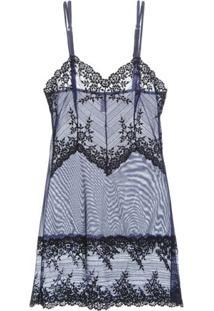 Camisola Curta Embrace Lace - Azul