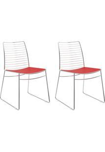 Kit 2 Cadeiras 1712 Vermelho Real/Cromado - Carraro Móveis