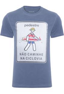 Camiseta Masculina Estampada Pedestre - Azul