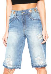 fcad05663 Dafiti. Bermuda Algodão Jeans Reta Cintura Media Zíper Feminina Colcci Azul  Daniela