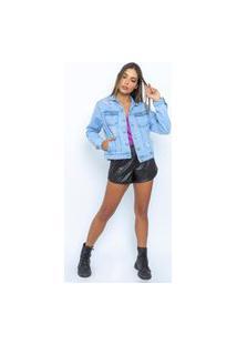 Jaqueta Jeans Destroyed Feminina Le Julie - Azul - P Azul