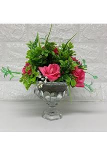 Vaso Taça De Vidro Com Rosas