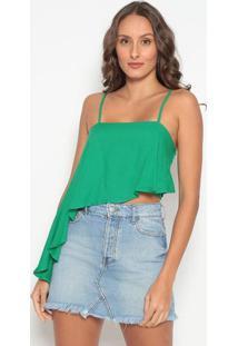 Blusa Cropped Assimã©Trica- Verde- Tritontriton