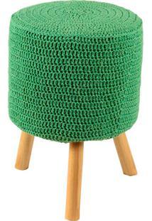 Puff Banqueta Round Crochê - Stay Puff - Verde