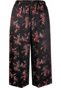 Comme Des Garçons Comme Des Garçons Calça Cropped Com Estampa Floral - Preto