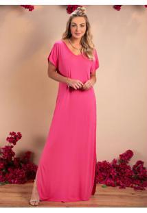 Vestido Longo Soltinho Com Fenda Pink