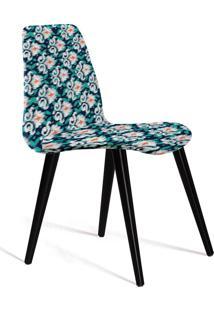 Cadeira Eames Tecido Pe Madeira Daf Azul/Verde