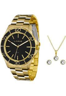 Kit Relógio Feminino Lince Analógico Lrgj067L Ku96 - Unissex-Dourado c1389a09a1