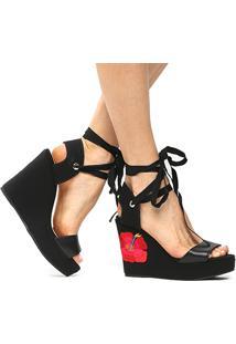 Sandália Anabela Shoestock Tropical Feminina - Feminino-Preto