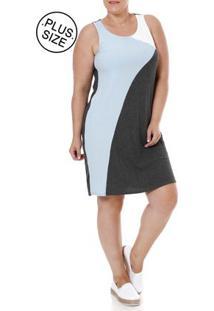 Vestido Plus Size Feminino Lunender Cinza/Azul
