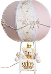 Abajur Balãozinho Ursinha Princesa Bebê Infantil Potinho De Mel Rosa - Kanui