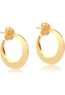 Brinco De Argola Abaulada Pequeno Folheado Em Ouro 18K - 2180000001791